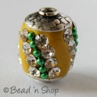 Yellow Bead Studded with White Rhinestones & Green Metal Chain