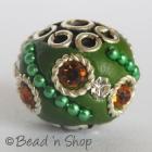 Beads Studded with Metal Chain & Rhinestones