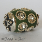 Green Bead Studded with Metal Ring & Rhinestoneses