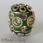 Green Bead Studded with Metal Ring & Rhinestones
