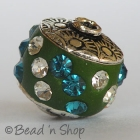 Green Bead Studded with White & Blue Rhinestones