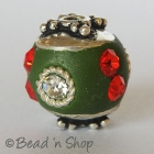Green Beads Studded with Metal Ring & Rhinestones