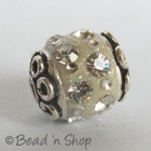 Off White Glitter Bead Studded with White Rhinestones