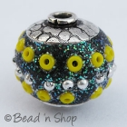 Glitter Beads Studded with Metal Ball & Seed Beads