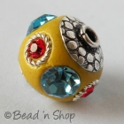 Yellow Beads Studded with Metal Rings & Rhinestones