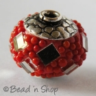 Red Bead Studded with Mirror Chips & Red Grains