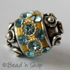 Yellow Bead Studded with Turquoise Rhinestones