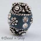 Blue Beads Studded with Metal Accessories & Rhinestones