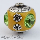 Yellow Beads Studded with Silver Plated Accessories & Rhinestones