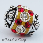 Yellow Bead Studded with Red & White Rhinestones