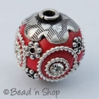 Red Bead Studded with Metal Accessories & Rhinestones