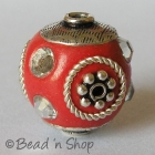 Red Bead Studded with Metal Accessories & Acrylic Rhinestones