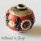 Red Bead Studded with Seed Beads & Rhinestones