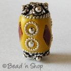 Yellow Bead Studded with Red Glass Chips & Metal Rings