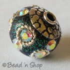 Glitter Beads Studded with Rainbow Rhinestone & Metal Rings