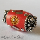 Red Bead Studded with Twisted Metal Rings & Mirror Chips