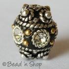 Black Beads Studded with Metal Rings & Rhinestones