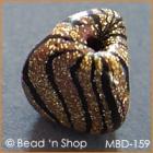 Golden-Black Triangular Handpressed Bead