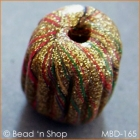 Hand-designed Golden Bead with Multicolor Stripes