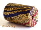 Golden Cylindrical Bead with Multicolor Stripes