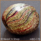 Golden Tablet Bead with Multicolor Stripes