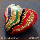 Golden Heart Bead with Multicolor Stripes