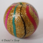 Golden Bead with Multi-color Stripes