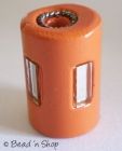 Yellow Cylindrical Bead with Glass Chips