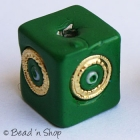 Green Square Bead with Golden Rings