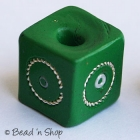 Green Square Bead with Metal Wire