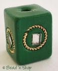 Green Square Bead with Metal Ring & Mirror
