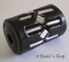 Black Cylindrical Bead with Glass Tubes & Mirrors