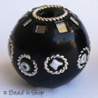 Black Round Bead with Glass Chips & Metal Rings