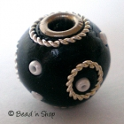 Black Round Bead Studded with Wire-rings & Seed-beads