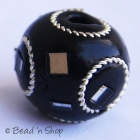 Black Round Bead Studded with Wire-rings & Mirrors