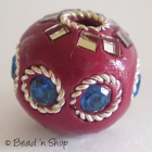 Red Round Bead with Rhinestones & Wire-rings