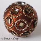 Shinning Brown Bead Studded with Mirrors & Wire-rings