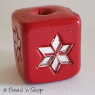 Red Square Bead Studded with Mirrors in Flower Design