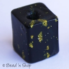 Black Square Bead with Golden Spots
