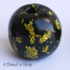 Black Round Bead with Golden Spots