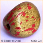 Golden with Red Spots Triangular Handpressed Bead