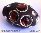 Black Bead Rimmed with Rhinestones & Wire-bordered Cabochons