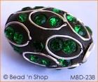 Black Bead Rimmed with Green Rhinestones