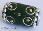 Green Bead Studded with Wire-bordered Balls