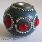 Blue Bead Studded with Wire-bordered Red Rhinestones