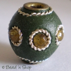 Green Bead Studded with Wire-bordered Yellow Rhinestones