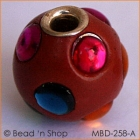 Red Round Bead Studded with Colored Cabochons