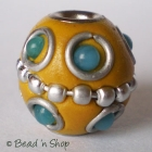 Yellow Bead Studded with Wire-bordered Balls
