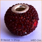 Round Bead with Red Grains & Rhinestones