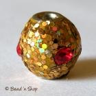 Round Bead with Golden Glitters & Red Rhinestone